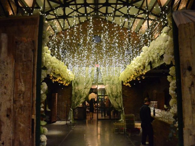 The Foundry (Long Island City, New York) - Icicle (Fairy) Lights suspended from the mezzanine level