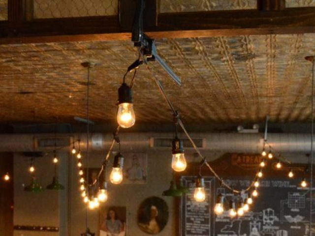 The Brooklyn Winery (Brooklyn, New York) - 150ft of String Lights with S14 bulbs suspended  in a zigzag pattern in the Main Bar