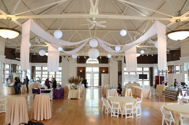 The Prospect Park Picnic House (Brooklyn, New York) - String Lights w/ Paper Lanterns and white drapes suspended overhead