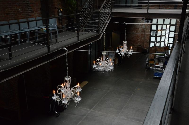 The Foundry (Long Island City, New York) - Chandeliers suspended from the mezzanine level