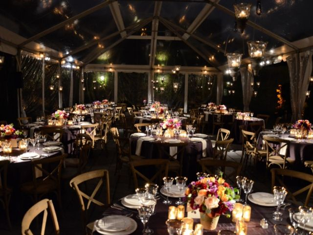 The Foundry (Long Island City, New York) -Table Centerpiece Pin-Spot with candle light lanterns suspended under tent
