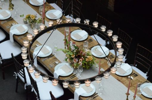 Circular Chandelier w/ Votive Candle Holders Rental Suspended at The Foundry in Long Island City, New York