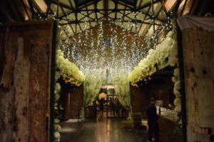 Icicle fairy lights suspended in the main room at The Foundry located in Long Island City, New York