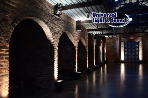 Up-Lights placed along the perimeter walls of the main room at The Foundry located in Long Island City, New York