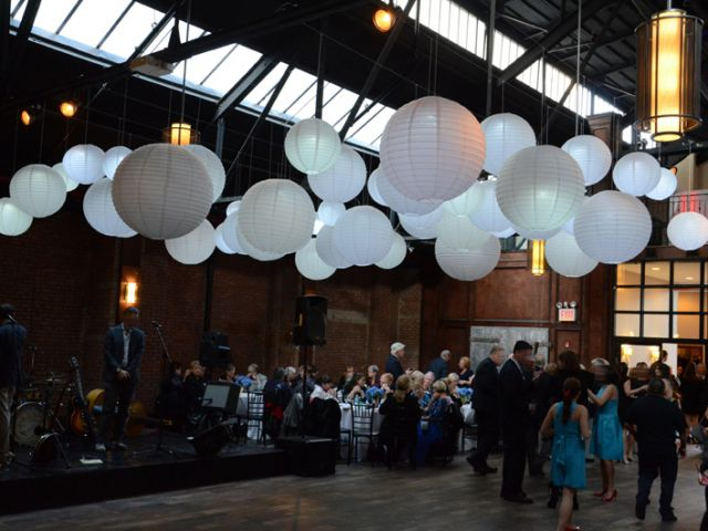 26 Bridge (Brooklyn, New York) - 50 Paper Lanterns each with a decorative LED light to provide a soft glow suspended over the dance floor.