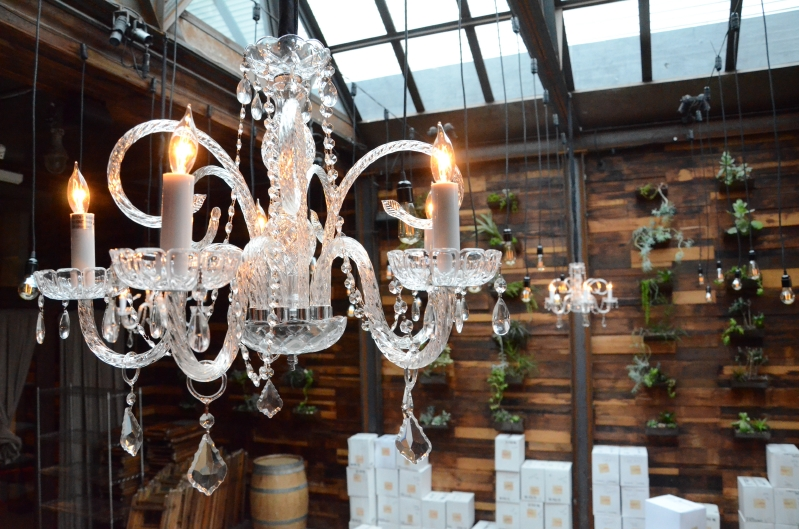 The Brooklyn Winery (Brooklyn, New York) - Chandeliers suspended in the Atrium