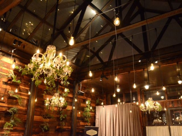 The Brooklyn Winery (Brooklyn, New York) - Chandeliers with Ivy suspended with Pendant Lamps in the Atrium
