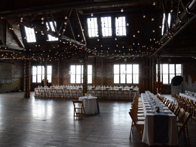 The Greenpoint Loft (Brooklyn, NY) - 300ft of String Lights with S14 bulbs suspended in  a zigzag pattern with wrapped columns