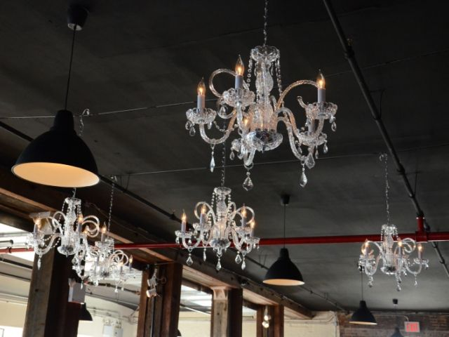 The Liberty Warehouse (Brooklyn, New York) - Chandeliers suspended over dance floor