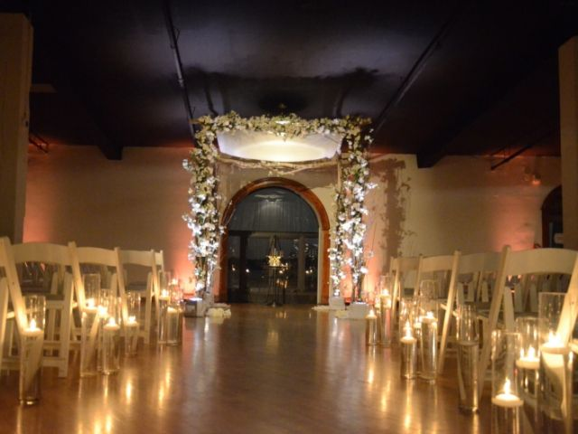 The Liberty Warehouse (Brooklyn, New York) - Spot Light for ceremony area & Up-Lights for Chuppa