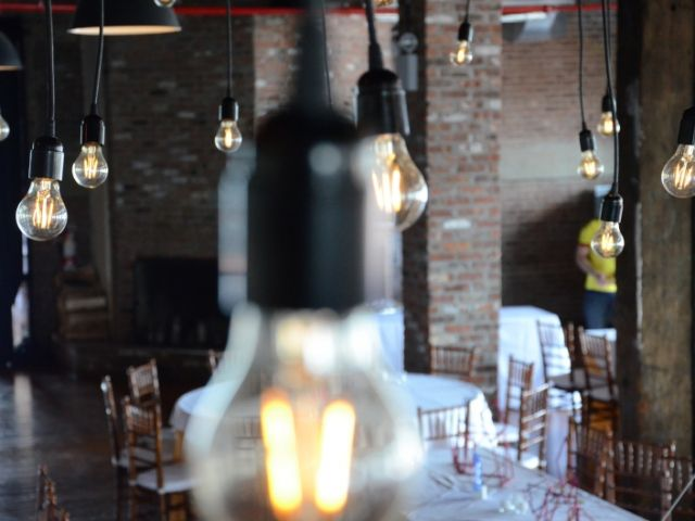 The Liberty Warehouse (Brooklyn, New York) - Pendant Lamps with Antique Edison bulbs Suspended over dance floor