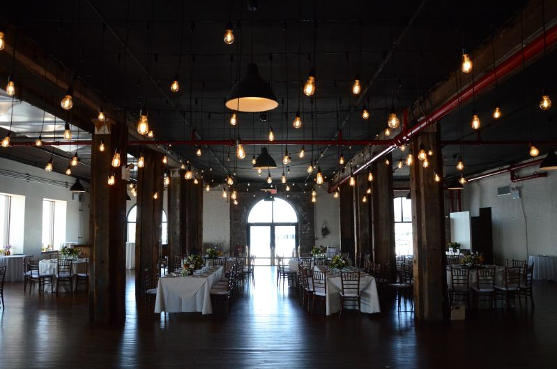Pendant Lamps suspended over dance floor on 1st floor at The Liberty Warehouse located in Brooklyn, NY