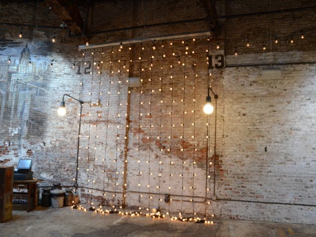 The Houston Hall (New York, NY) - String Lights suspended Vertically as a backdrop against Wall
