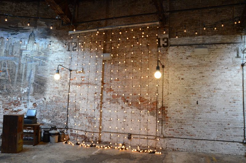 String Lights suspended vertically as a backdrop at The Houston Hall located in New York City