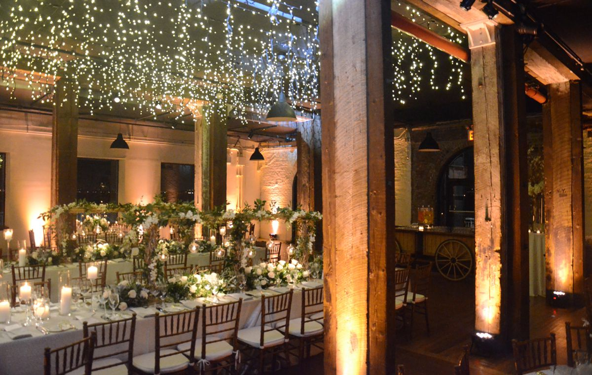 The Liberty Warehouse (Brooklyn, New York) - Icicle (Fairy) Lights suspended between center columns