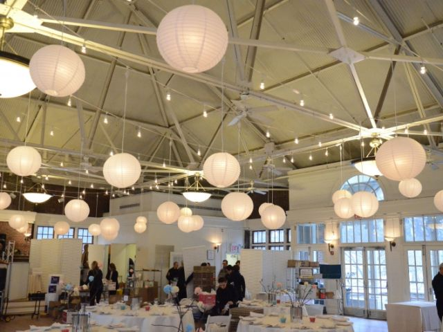 The Prospect Park Picnic House (Brooklyn, New York) - String Lights w/ Paper Lanterns and Pendant Lamps suspended in parallel lines overhead