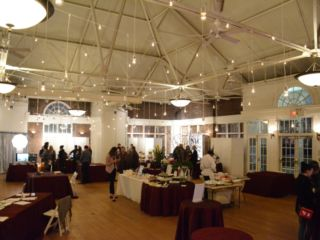 The Prospect Park Picnic House (Brooklyn, New York) - String Lights w/ Pendant Lamps suspended in parallel lines overhead