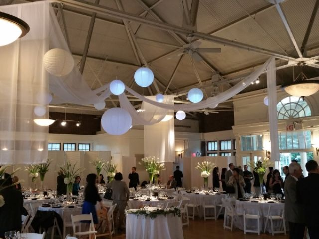 The Prospect Park Picnic House (Brooklyn, New York) - String Lights w/ Paper Lanterns and Sheer white drapes suspended overhead