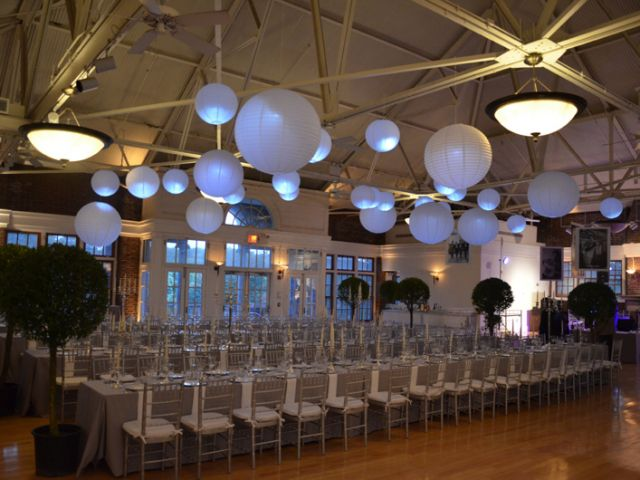 The Prospect Park Picnic House (Brooklyn, New York) - Paper Lanterns suspended overhead with a decorative LED light inside