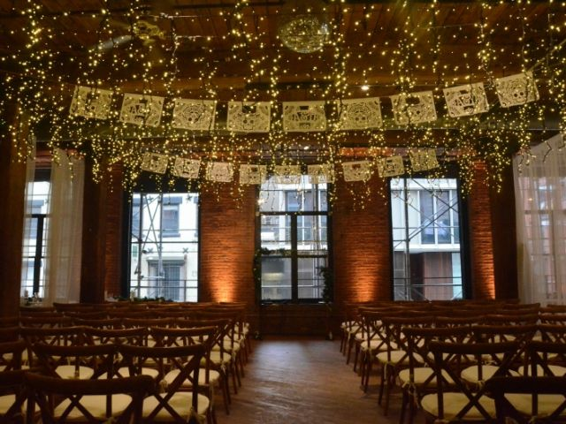 The Dumbo Loft (Brooklyn, New York) - Icicle (Fairy) Lights suspended between the center columns at The Dumbo Loft with Up-Lights along the perimeter walls