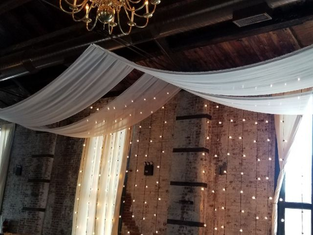The Green Building (Brooklyn, New York) - Sheer curtains suspended in parallel lines over ceremony area