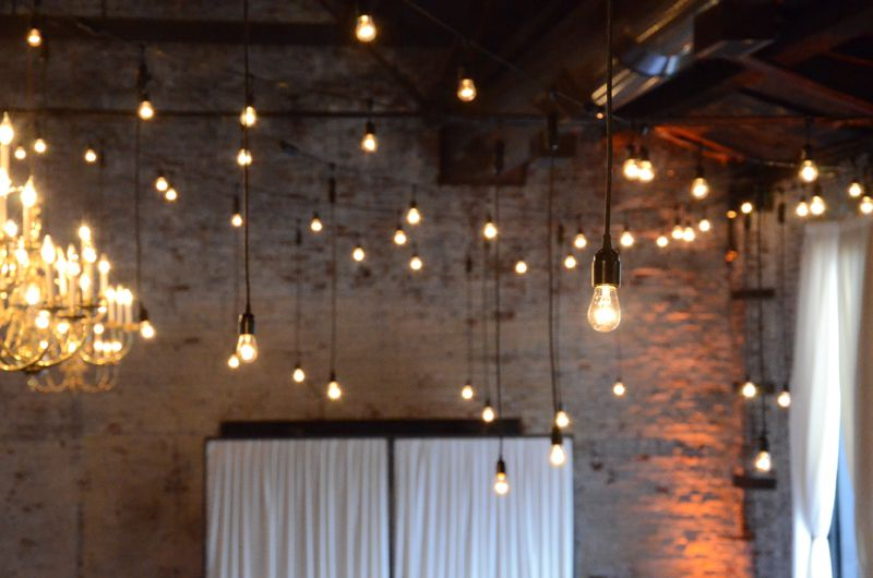 The Green Building (Brooklyn, New York) - String Lights with Pendant Lamps and S14 bulbs suspended  in a zigzag pattern