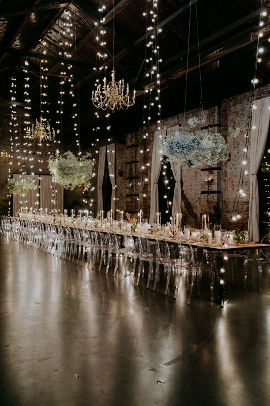 The Green Building (Brooklyn, New York) - String Lights suspended vertically over tables with G50 bulbs