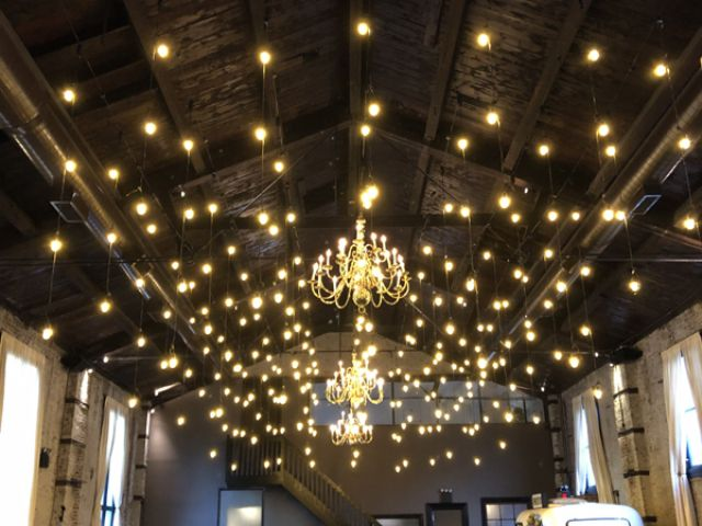 The Green Building (Brooklyn, New York) - String Lights suspended vertically as pendants with S14 bulbs
