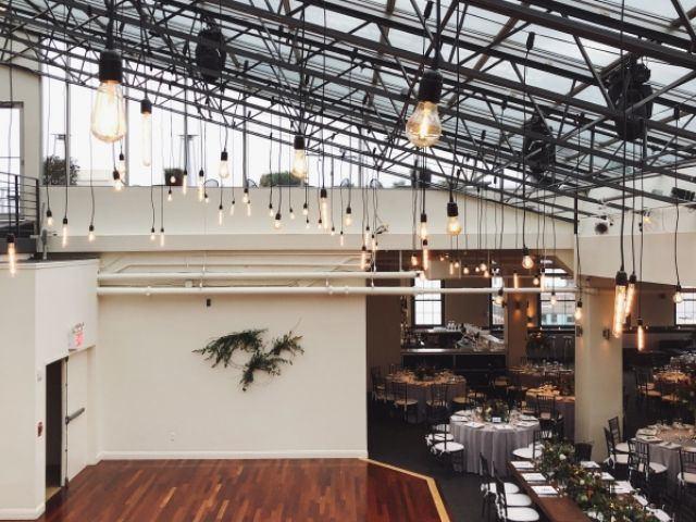 The Tribeca Rooftop (New York, NY) - Pendant Lamps w/ Vintage Edison Bulbs suspended above dance floor