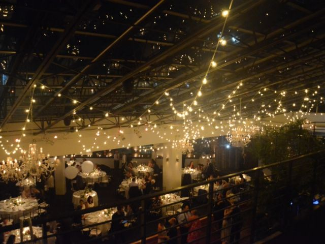 The Tribeca Rooftop (New York, NY) - String Lights suspended in a random zigzagging pattern over dance floor