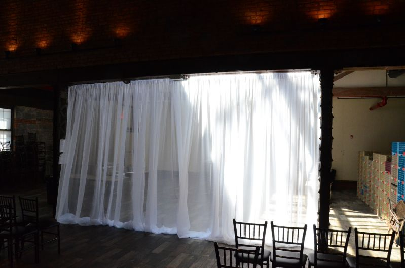 Suspended across the center of the Main Room under the 5th Beam. Sheer Curtain - Approximately $180 (Plus - NYC Sales Tax & Delivery)