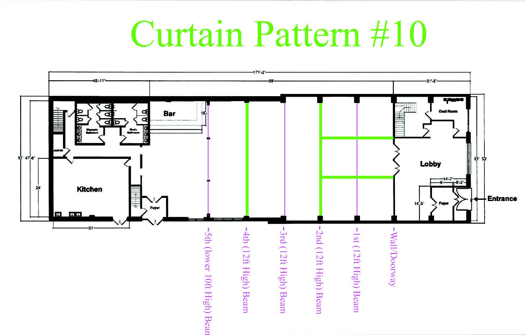 Suspended across the width of the Main Room under the 2nd Beam and 4th Beam. Also suspended the length of the room between 2nd Bean and Entrance wall on the Bar-Side of The Main Room and NON-Bar-Side of The Main Room. Sheer Curtain - Approximately $1,080 (Plus - NYC Sales Tax & Delivery)