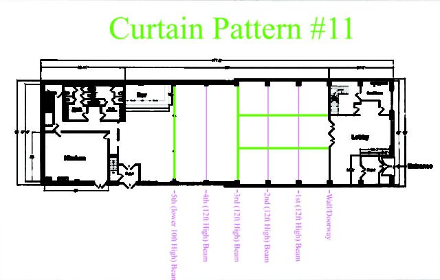 Suspended across the width of the Main Room under the 3rd Beam and 5th Beam. Also suspended the length of the room between 3rd Bean and Entrance wall on the Bar-Side of The Main Room and NON-Bar-Side of The Main Room. Sheer Curtain - Approximately $1,260 (Plus - NYC Sales Tax & Delivery)