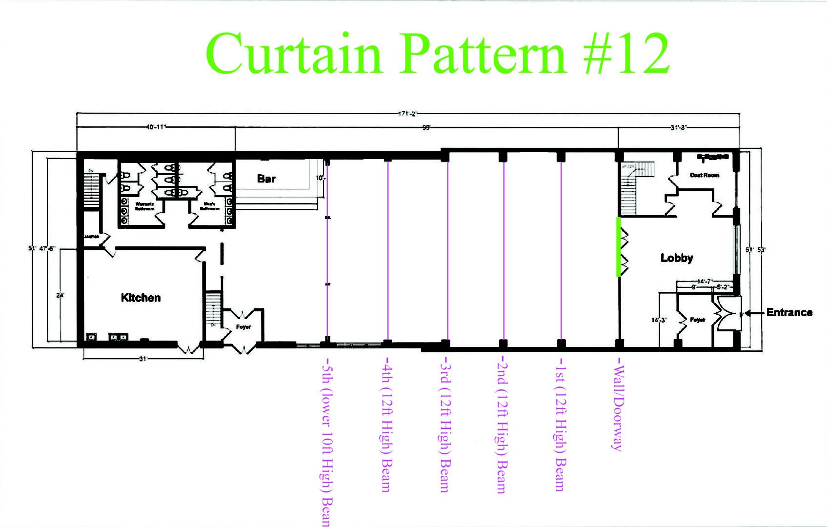 Suspended across the Width of the Balcony/Mezzanine overlooking the Main Room Sheer Curtain - Approximately $180 (Plus - NYC Sales Tax & Delivery)