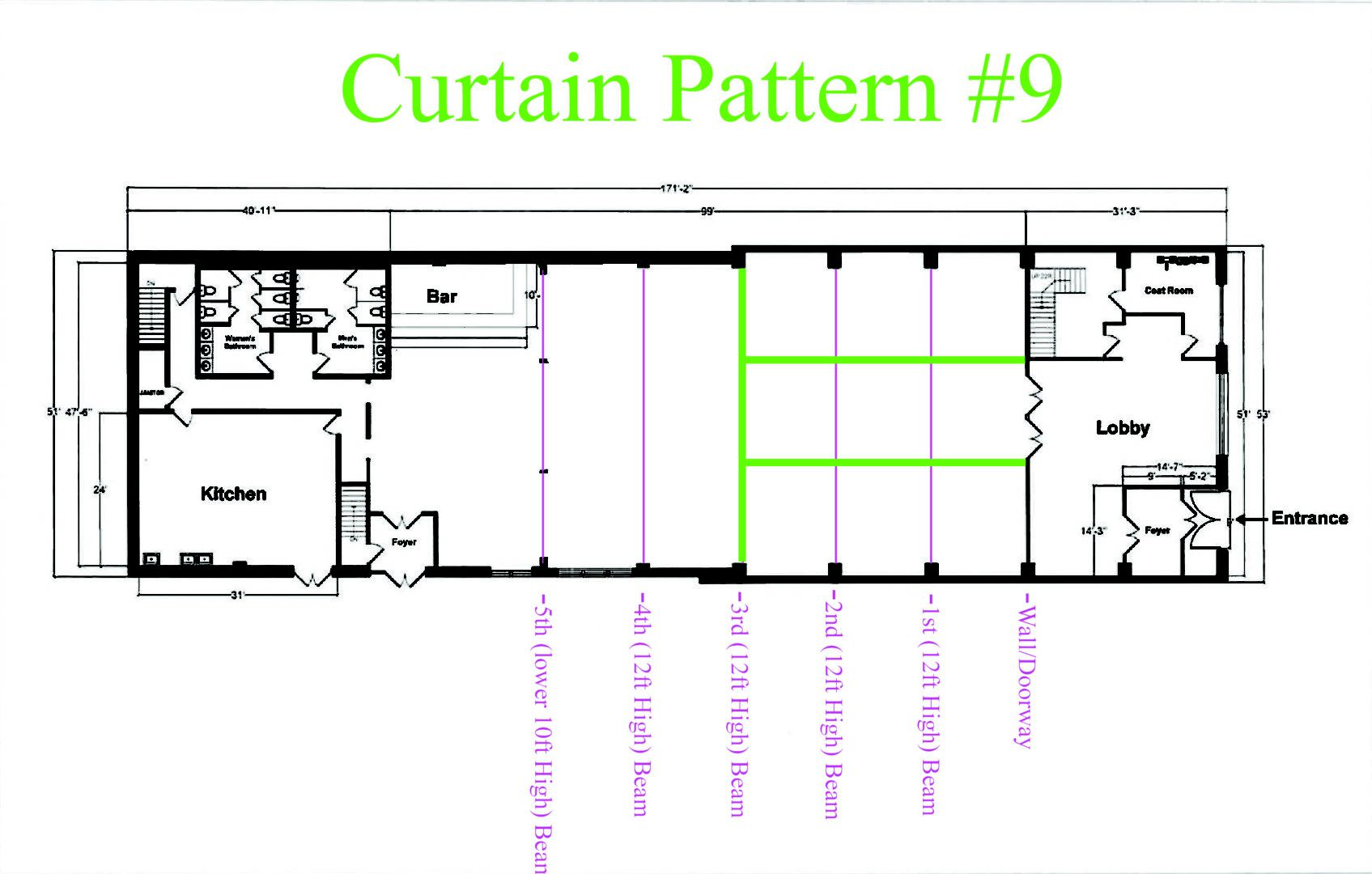 Suspended across the width of the Main Room under the 3rd Beam and Suspended the length of the room between 3rd Bean and Entrance wall on the Bar-Side of The Main Room and NON-Bar-Side of The Main Room. Sheer Curtain - Approximately $1,080 (Plus - NYC Sales Tax & Delivery)