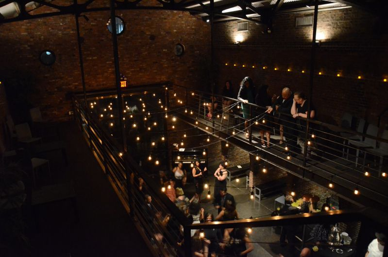 300ft of String Lights suspended with S14 bulbs in the main room at The Foundry