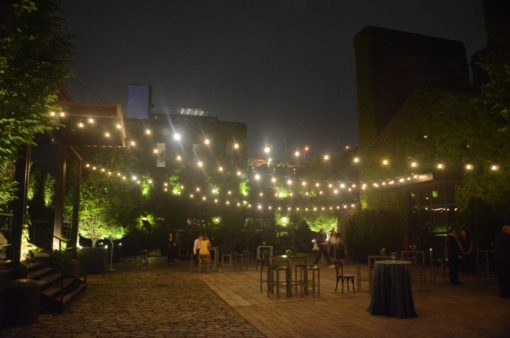 String Lights suspended above the courtyard without stands