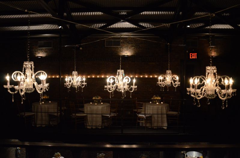 Crystal Chandeliers suspended in the main room at The Foundry located in Long Island City, New York