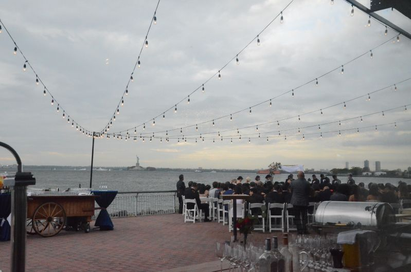 String Lights above rear outdoor patio at The Liberty Warehouse