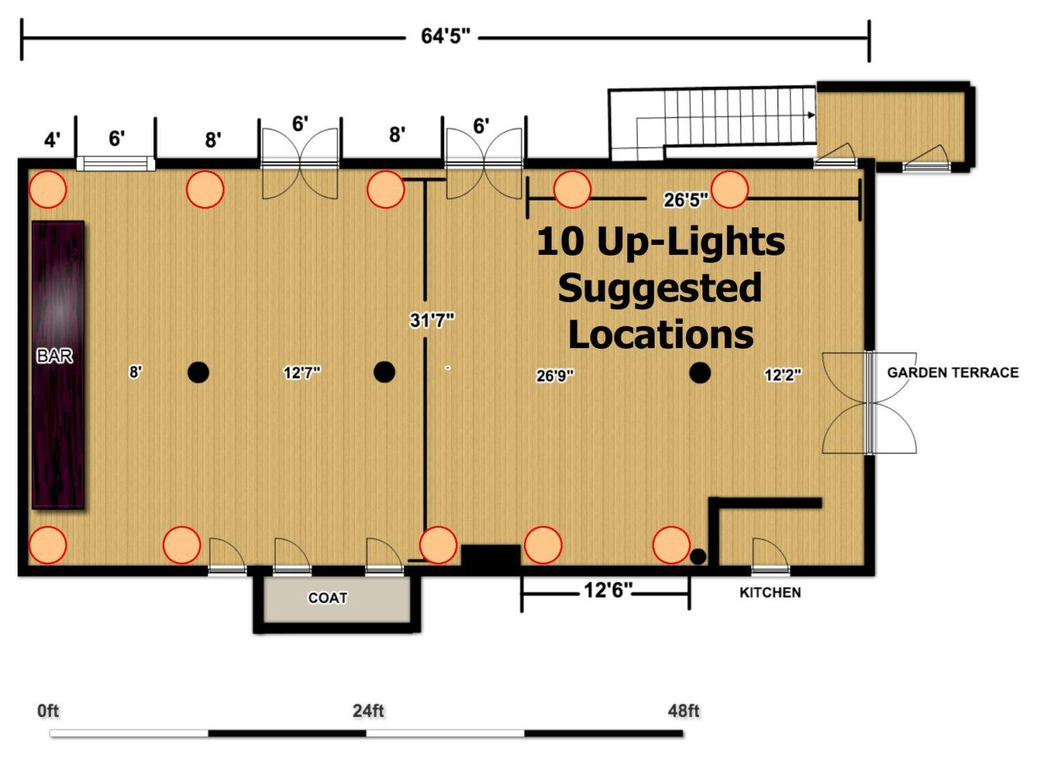 The Wythe Hotel - Main Ballroom - 10 Up-Lighting Floor Plan