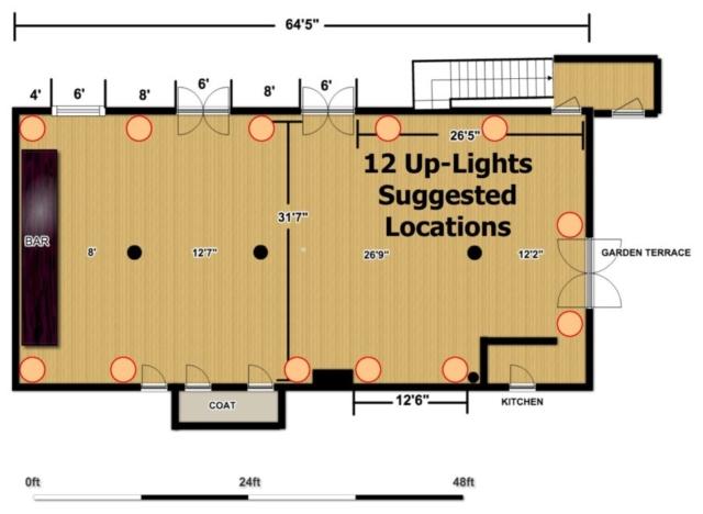 The Wythe Hotel - Main Ballroom - 12 Up-Lighting Floor Plan