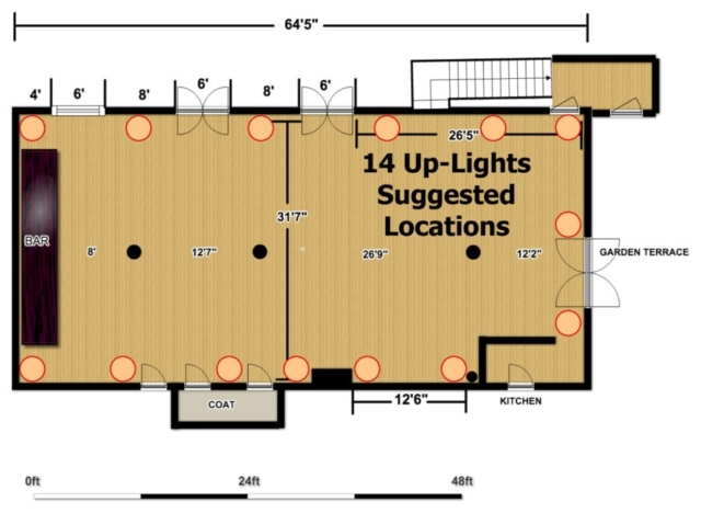 The Wythe Hotel - Main Ballroom - 14 Up-Lighting Floor Plan
