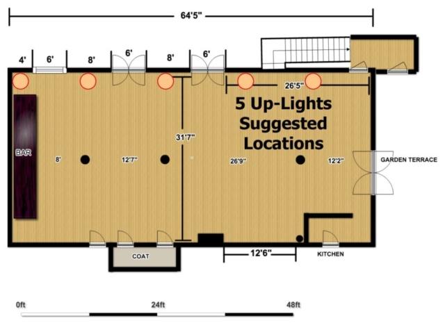 The Wythe Hotel - Main Ballroom - 5 Up-Lighting Floor Plan